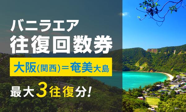 ⑥【大阪(関西)=奄美大島線】バニラエア往復回数券 〈2017/6/30まで・最大3予約分!〉